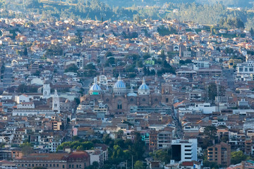 aerial view historic center Cuenca at sunset