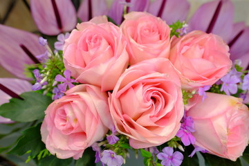 Romantic Flower bouquet arrangement with special light pink rose