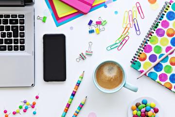 Colorful desktop work space