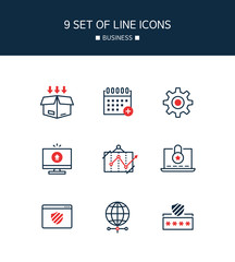 Red Point Business Line Icon Set