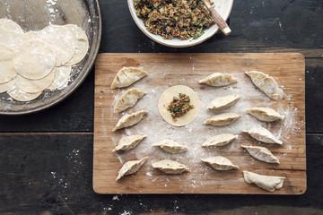 Food: japanese (inspired) gyoza ravioli with vegetable quinoa filling,vegan