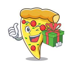 With gift pizza slice mascot cartoon