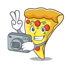 Photographer pizza slice mascot cartoon