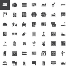 Hotel vector icons set, modern solid symbol collection, filled style pictogram pack. Signs, logo illustration. Set includes icons as Double Bed Room, Mini bar, Room Service, Customer, Bell Reception