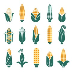Corn cobs vector icons for cereal or grain