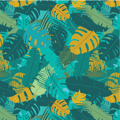 exotic tropical summer leaves seamless background