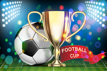 Football 2018 championship. Soccer ball, arena stadium, golden cup and red flag.