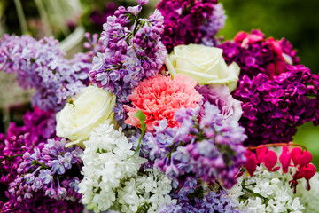 Bouquet of different colors in decorated  zone