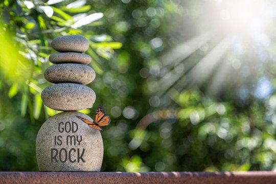 Zen Stacked Rocks Jesus is my Rock God is my Rock