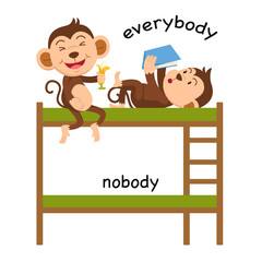 Opposite everybody and nobody vector illustration
