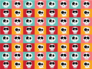 funny white doodle skulls in different characters on vintage bright multicoloured background, pattern seamless background.