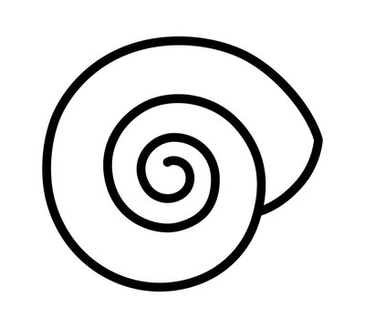 Empty land snail shell or gastropod shell line art vector icon for wildlife apps and websites