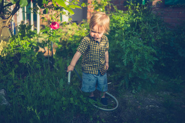 Little toddler boy watering the garden at sunset