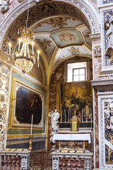 Palermo, Italy - April, 2018: detail of the Santa Caterina church in Palermo. Italy. The church is a synthesis of Sicilian Baroque, Rococo and Renaissance styles.