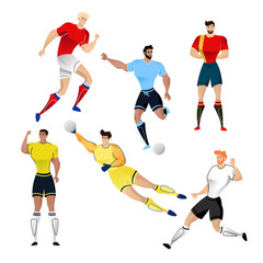 Football players from Uruguay, France, Russia, Germany, Colombia and Belgium isolated on a white background. Colorful  illustration of soccer players. illustration of goalkeeper.