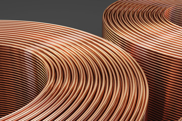 Spiral copper pipes and copper tubes. 3D illustration