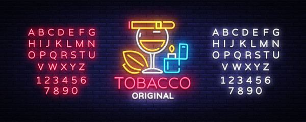 Tobacco shop logo vector. Cigarettes Shop night bright advertising design template. Vector illustration. Editing text neon sign