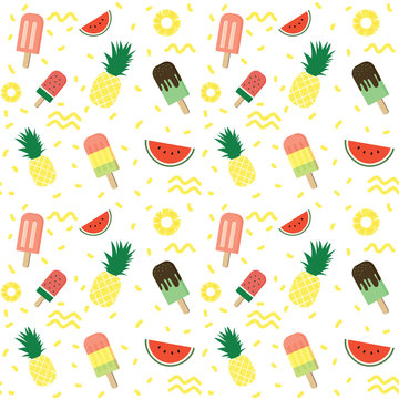 Colorful tropical summer fruit and popsicle ice cream seamless pattern