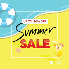 Colorful summer sale poster template