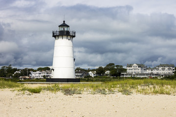 Martha's Vineyard, Massachusetts. Edgartown Harbor Light, a lighthouse located in Edgartown, where it marks the entrance to Edgartown Harbor and Katama Bay