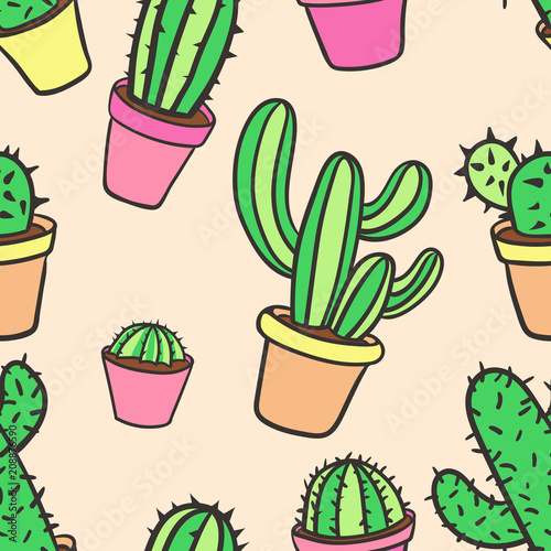 Seamless pattern with cactus  Pattern of cactus  Cacti in pots  Cute