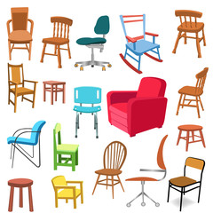 vector set of different chairs