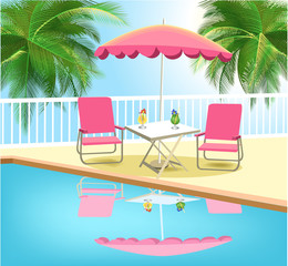 summer vacation with tropical swimming pool
