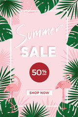 Summer sale poster template with 50 percent off sign