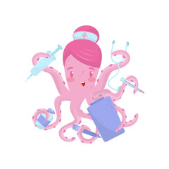 Doctor or nurse octopus with medical items in tentacles. Cartoon character of cute marine animal. Flat vector icon