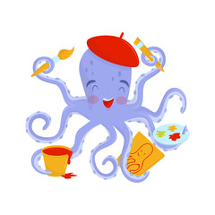 Joyful octopus artist with pink cheeks in red beret. Funny sea animal holding drawing tools in tentacles. Flat vector design