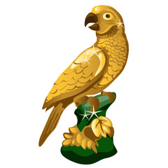 A Golden statue of a parrot isolated on white background. Vector illustration.