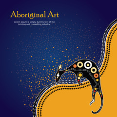 Aboriginal art vector Banner with text. Illustration based on aboriginal style of background.