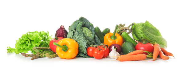 Fresh vegetables on white background. Healthy food concept