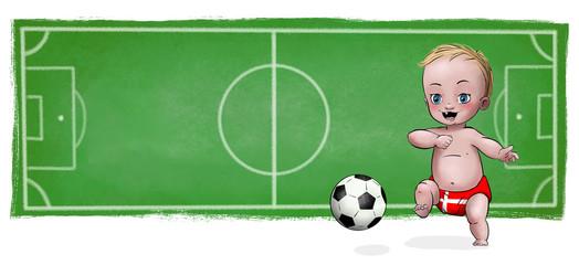 Cute Baby playing football - Denmark
