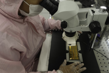 Wall Mural - image of Workers in clean pink suits examination a silicon wafers for production by Microscopy , select focus ,semiconductor