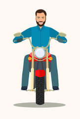 Man on a retro red motorcycle vintage isolated. Front view. Vector flat style illustration
