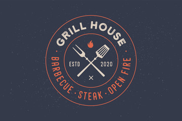 Logo for Grill House restaurant with grill fork, text typographic Grill House, Barbecue, Steak, Open Fire. Graphic template for restaurant, bar, cafe, food court and menu, label. Vector Illustration