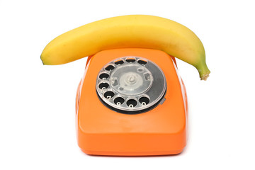 Old phone with a banana instead of a tube