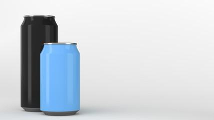 Big black and small blue aluminum soda cans mockup
