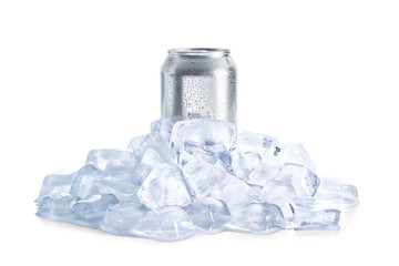 Aluminum can of cold beer in ice on white background