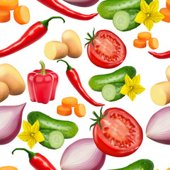 Seamless pattern with vegetables. Vegeterian food. Tomato, pumpkin, cabbage, potatoes onion broccoli carrot pepper and garlic. 3d realism vector illustration.