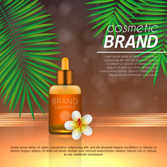 Summer sunblock cosmetic design template on abstract orange background with exotic palm leaves. Realistic sun protection and sunscreen product ads.