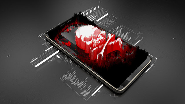 Red pirate skull on smartphone screen, mobile hacking, system breach, virus