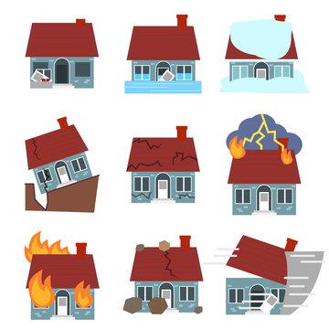 Cartoon Building Disasters Destruction Icons Set. Vector