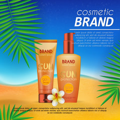 Summer sunblock cosmetic design template on beach background with exotic palm leaves. Realistic sun protection and sunscreen product ads.