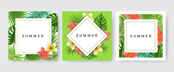 Card frame set with palm leaf, exotic flower for tropical design. Vector illustration, paper card collection with three designs