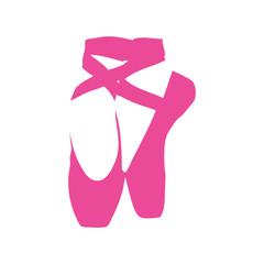 Icono plano zapatillas ballet en espacio negativo en color rosa
