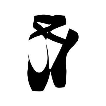 Icono plano zapatillas ballet en espacio negativo en color negro