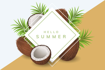 Coconut paper frame with palm leaf, whole and half coconut for summer design. Vector illustration for tropical and vacation card design