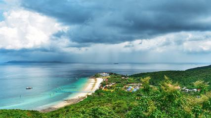 Blue sky beach and sea koh larn pattaya Thailand